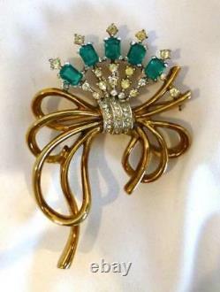 1940 Crown Trifari Alfred Philippe Emerald Green & Rhinestone Bow Brooch