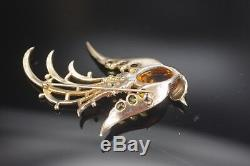 1940 Crown Trifari Jelly Belly Lyre Bird Sterling Brooch Alfred Philippe Signed