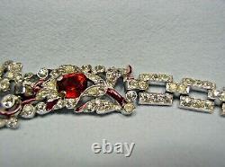 1940 Trifari Alfred Philippe Red Enamel/ruby Red/clear Pave Rhinestone Bracelet