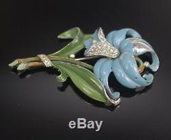 1940 Trifari Orchid Lily Enamel And Rhinestones Fur Clip Alfred Philippe