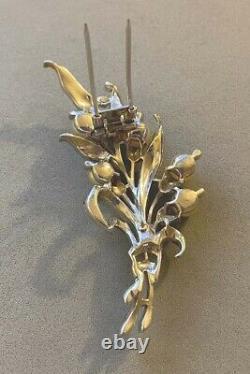 1940's TRIFARI Alfred Philippe Enamel Rhinestone Faux Pearl Flower Fur Clip Pin
