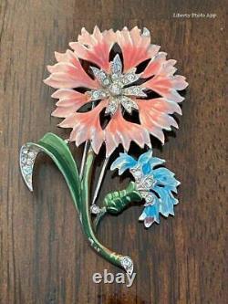 1940's Trifari Alfred Philippe'Rue de la Paix' Pink & Blue Carnation Pin Clip