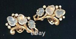 1940s CROWN TRIFARI ALFRED PHILIPPE RHODIUM ACORN FRUIT SALAD CLIP EARRINGS TAC5