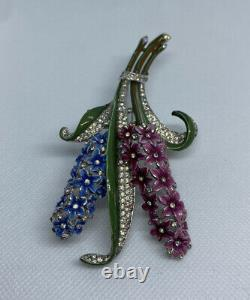 1940s Crown Trifari Alfred Philippe Enamel & Pave Double Hyacinth Fur Clip
