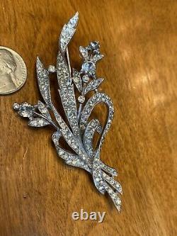 1941 Alfred Philippe Crown Trifari Pave Rhinestone Ribbon Bouquet Brooch 129319