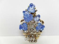 1941 Alfred Philippe Crown Trifari Signed Blue Fruit Salad Fur Clip Brooch