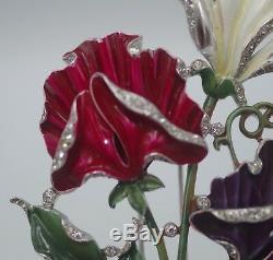 1941 Trifari Large Multicolor Floral Enamel Fur Clip Alfred Philippe Very Rare