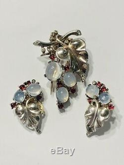 1945 Rare Sterling Alfred Philippe Trifari Cabochon, FurClip And Earrings