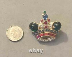 1950's TRIFARI Alfred Philippe Cabochon Jelly Belly Crown Gold Tone Pin Brooch