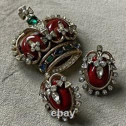 1953 TRIFARI Alfred Philippe Coronation Gems Red Royal Crown Brooch + Earrings