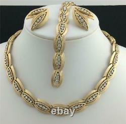 1960'S ALFRED PHILIPPE GOLD T. CRYSTAL RHINEST. Necklace, Bracelet, Earrings SET
