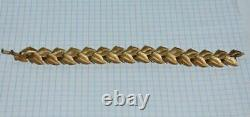 1960 Trifari Huge Bracelet Women's Jewelry Gold Plated Leaves Alfred Philippe