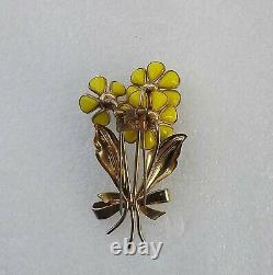 40's Alfred Philippe Trifari 3 Flower Fur Clip Yellow Poured Glass Enamel Leaves