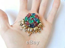 Alfred Philippe 1948 Trifari Vermeil Tri-Color Brooch Necklace Fruit Salad Rare
