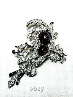 Alfred Philippe Crown Trifari Amethyst Fur Pin Brooch Empress Eugene Rhinestones