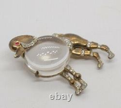 Alfred Philippe Crown Trifari Big Poodle Jelly Belly Sterling Brooch