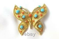 Alfred Philippe Crown Trifari Cabochon Faux Coral Turquoise Butterfly Brooch