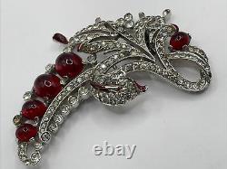 Alfred Philippe Crown Trifari Empress Eugene Rhinestones Red Accents Fur Pin