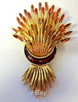 Alfred Philippe Crown Trifari Enamel Gold Tone Spikelets Flowers Pin Brooch Rare