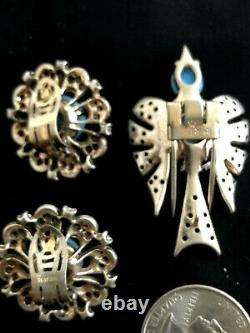 Alfred Philippe Crown Trifari Figural Bird Brooch & Earrings Sterling Silver