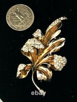 Alfred Philippe Crown Trifari Furled Leaf 2-Tone Sterling Vermeil Fur Pin Brooch