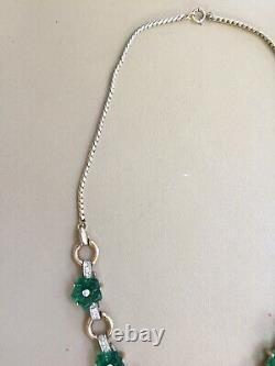 Alfred Philippe Crown Trifari Green carved flower & Fruit Salad Necklace 1949