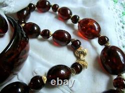 Alfred Philippe Crown Trifari Parure Faux Tortoise Necklace Bracelet Earrings Gp