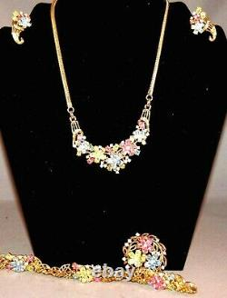 Alfred Philippe Crown Trifari Pastel Rhinestone Complete Necklace, Bracelet Set