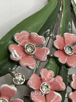 Alfred Philippe Crown Trifari Pat#121253 Pink Enamel Flowers Rhinestones Fur Pin