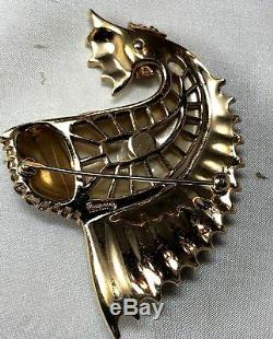 Alfred Philippe Crown Trifari Pearl Belly Rhinestone Figural Leaping Fish Brooch