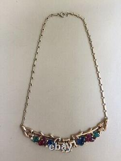 Alfred Philippe Crown Trifari Red, blue, green stone Fruit Salad Stone Necklace