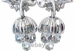 Alfred Philippe Crown Trifari Rhinestone Grape Runway Statement Earrings