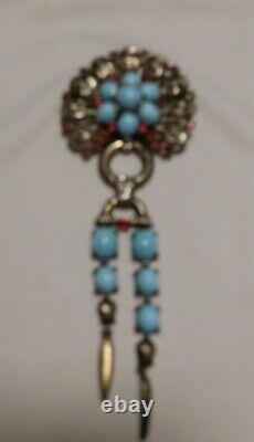 Alfred Philippe Crown Trifari Sterling Faux Turquoise Rhinestone Dangle Brooch