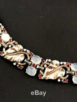 Alfred Philippe Crown Trifari Sterling Moonstone Cabochon Rhinestone Bracelet