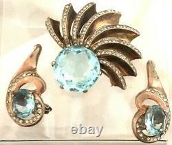 Alfred Philippe Crown Trifari Sterling Silver Aqua Blue Brooch & Earring Set