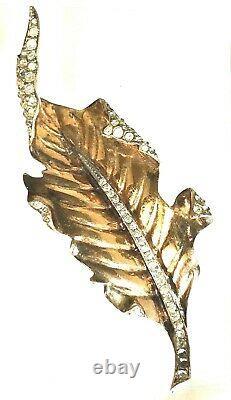Alfred Philippe Crown Trifari Sterling Silver Figural Leaf Fur Pin Brooch