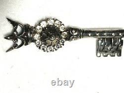 Alfred Philippe Crown Trifari Sterling Silver Rhinestone Set Figural Key Brooch