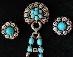 Alfred Philippe Crown Trifari Sterling Turquoise Dangle Brooch and Earrings Set