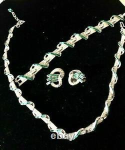 Alfred Philippe Crown Trifari Weaving Green Baguette & Rhinestone Necklace Set