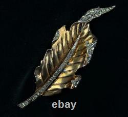 Alfred Philippe Designed Crown Trifari Sterling Silver Leaf Fur Brooch Pin