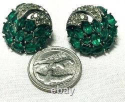 Alfred Philippe Emerald Green Rhinestone Inset Earrings Crystal Caps