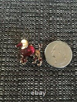 Alfred Philippe Signed Crown Trifari Red Poodle Dog Rhinestone Brooch
