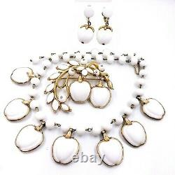 Alfred Philippe Trifari Crown Apple Milk Glass Ribbed Necklace Brooch Earrings