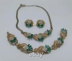 Alfred Philippe Trifari Crown Green Rhinestone Set (Necklace Bracelet Earrings)