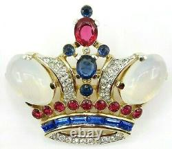 Alfred Philippe Trifari Crown Moonstone Cabochon Red Blue Rhinestone Brooch, Pin
