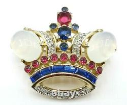 Alfred Philippe Trifari Crown Moonstone Cabochon Red Blue Rhinestone Brooch, Pin