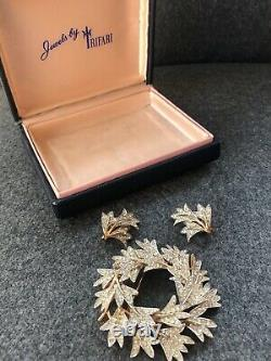 Alfred Philippe Trifari Leaf Wreath Pin Brooch Earring Set Rhinestone BOX