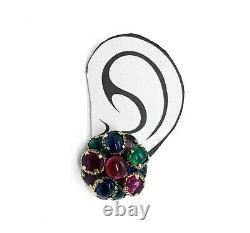 Alfred Philippe Trifari Renaissance Earrings, Couture Gripoix Poured Glass Look