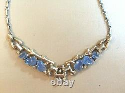 Alfred Philippe Trifari Sterling Silver Chalcedony Glass carved Fruit Necklace