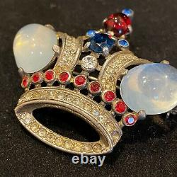 Alfred Philippe Trifari Sterling Silver Crown Brooch (with inlaid Rhinestones)